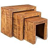 vidaXL Beistelltisch Satztisch Antik Mangoholz 3er Set