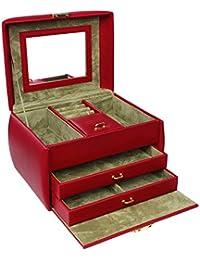 Songmics Coffret Boîte à Bijoux Présentoirs Beauty Case avec Miroir Rouge JBC140R