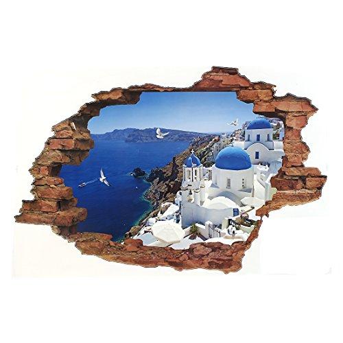 Preisvergleich Produktbild Santorini Insel-Landschaft Wandaufkleber Wandsticker für DIY Wanddeko