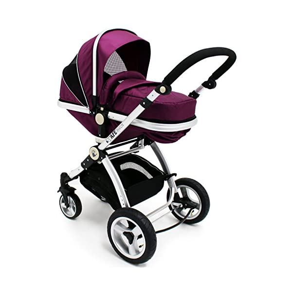 iSafe Trio Pram Stroller 2in1 - Plum (Purple) iSafe 2 in 1 Stroller / Pram Extremely Easy Conversion To A Full Size Carrycot For Unrivalled Comfort Complete With Boot Cover, Luxury Liner, 5 Point Harness, Raincover, Shopping Basket With Closed Ziped Top High Quality Rubber Inflatable Wheels With The Full All around Soft Suspension For That Perfect Unrivalled Ride 5