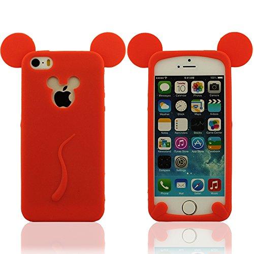 Super Souple Élastique & Ultra Mince Compatible avec l' iPhone 5 & iPhone 5S & iPhone 5C & iPhone 5G Silicone Coque Case Housse, Mickey Style Design, Mignon L'Oreille de Souris Modélisation Rouge