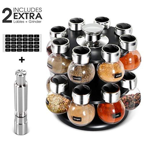 Portaspezie da cucina per 16 barattoli con macina sale e pepe barattoli di plastica etichettati Orbit portaspezie con 2 ripiani girevoli piano di