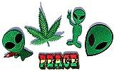 i-Patch - Patches - 0010 - Stickerei - Applikation - Aufnäher - Alien - Außerirdische - Gun - Peace - grün - Aufnäher Patches - Aufbügler - Patches zum aufbügeln - Applikation zum aufbügeln