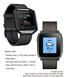 Fitbit Blaze, Pebble Time 2/Steel, Pebble 2 22mm Leather Watch Band Quick Release, Truffol Strap Genuine Leather (Black)