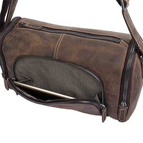 Genda 2Archer Sacchetto di Spalla Dell'annata Pazzesca del Cavallo Sacchetto di Tracolla Sacchetto Messaggero Borsa del Portatile (36cm * 15.5cm* 21 cm) (Marrone) Marrone