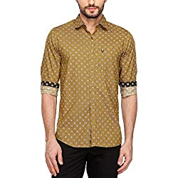 Allen Solly Mens Classic Collar Printed Shirt_Beige_40