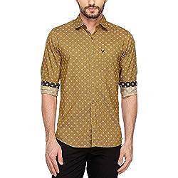 Allen Solly Mens Classic Collar Printed Shirt_Beige_42