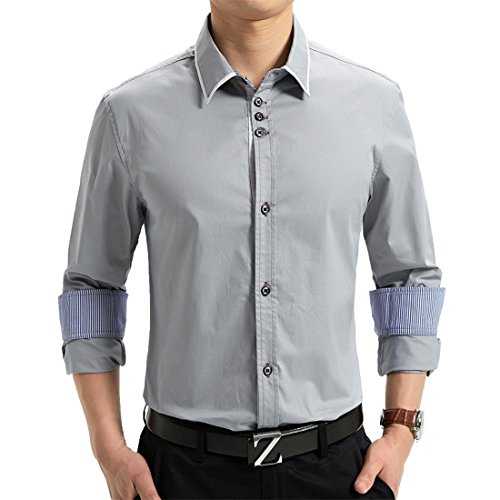 Jeansian Hommes Fashion Shirt Chemise Casual Manches Longues Men's Business Shirt Slim Fit Tops MCF028 gray