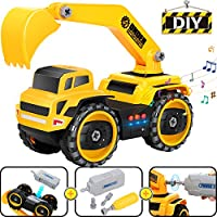 COOLJOY Construction Truck Toy,  Take Apart Toy Electric Car With Electric Drill Tool,25 PCS DIY Assemble Engineering Vehicle With Realistic Sounds & Lights Excavators Toy Gift for Kids 3 Year Old