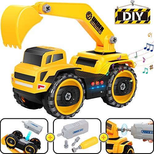 COOLJOY Smontabile Giocattolo Auto, Smontare Macchine Racing Construction Toy, Veicoli per Assemblare Attiva Il Motore e Luminosi Musica, Regalo Educativo per Bambini