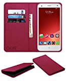 Acm Rich Leather Flip Wallet Front & Back Case for Zte Blade S6+ Plus Mobile Flap Magnetic Cover Pink