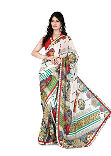 Sharda Sarees Georgette Saree (Off-White) with Blouse Piece