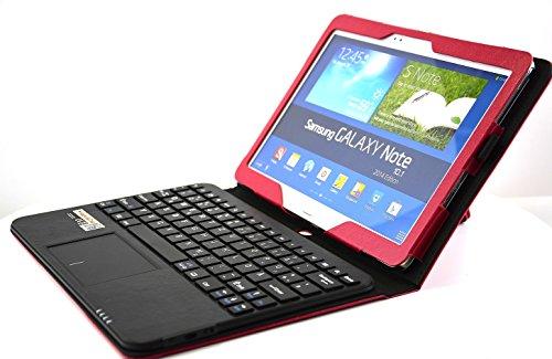 MQ - Galaxy Note 10.1 2014 Bluetooth Tastatur Tasche mit Multifunktions-Touchpad   Hülle mit Bluetooth Tastatur und integriertem Touchpad für Samsung Galaxy Note 10.1 2014 Edition WiFi SM-P6000, LTE 4G SM-P6050   Layout: Deutsch   Rot