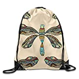 fengxutongxue Dragonfly Drawstring Backpack Travel Bag Gym Outdoor Sports Portable Drawstring Beam Port Backpack for Girl Boys Woman Female