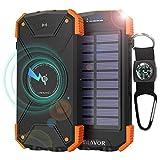BLAVOR Powerbank,10000mAh Wireless Power Bank Solar Ladegerät Externer Akku,Tragbare Notfall-Energie mit LED-Licht,Dual Eingangsports für iPhone,Samsung und andere Smartphones/Handys