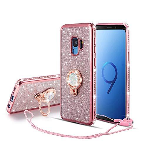 UEEBAI Hülle für Samsung Galaxy S9,Glitter Etui Eingelegten Diamond Soft TPU Handyhülle Drehbare Strass Ring 360 Grad Ständer Ultra Dünn Schutzhülle Mädchen Frauen Umhängeband - Roségold - Lichter Finger-ring