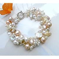 Perlenarmband , Weiß und Pink Perle gewundenes Armband