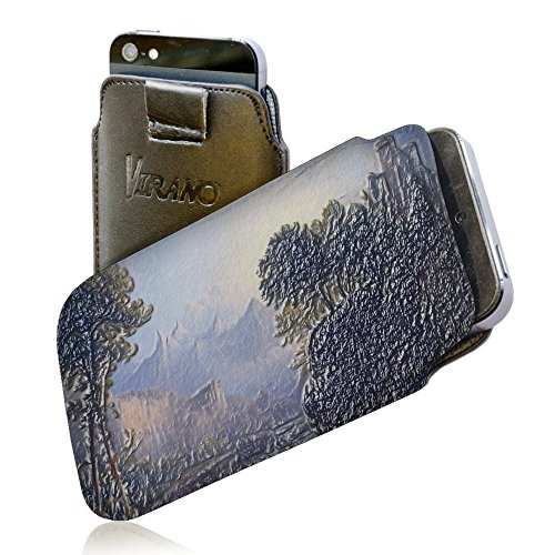 Thomas Doughty - Fanciful Landscape, Pull Tab Texture Portafoglio Custodia Protettiva in PU Pelle Wallet Case Cover Shell Borsa Copertura Nero con Design Strutturato per Huawei P8.