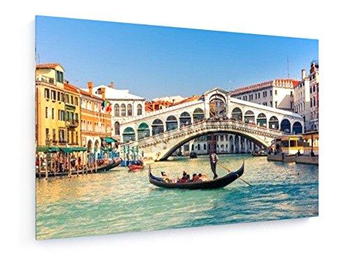 Rialto-Brücke in Venedig, Italien - 75x50 cm - Textil-Leinwandbild auf Keilrahmen - Wand-Bild - Kunst, Gemälde, Foto, Bild auf Leinwand - Städte & Reise (Kunst Leinwand Foto)
