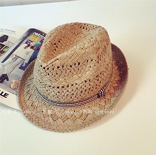 DMXY-tissé main Hat chapeaux de paille parasol pliable Joker street fashion Hat Light coffee color