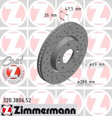 Zimmermann 320.3806.52 Disco Freno, Anteriore, Perforato, Sport Coat Z