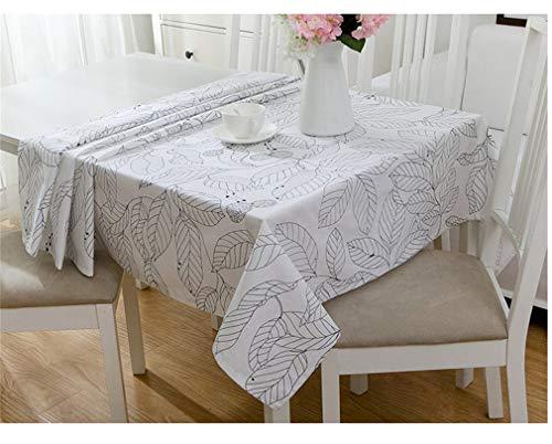 Dinar Nappe en Coton Moderne Noir et Blanc Feuilles modèle de Tissu de Table Banquet de Mariage Lavable Couverture de Table Textiles White 140cm X 140cm