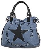 Gadzo Damen Handtasche Star jeansblau tasche sterne blau schultertasche aus stoff henkeltasche stern Canvas Schultertasche TUS0363SET