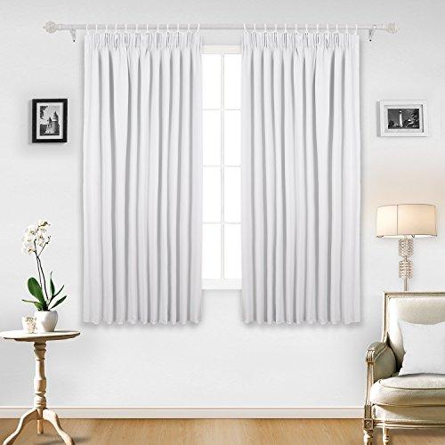 Weiße Gardinenstange Kinderzimmer (Deconovo Vorhang Blickdicht Kräuselband Vorhang Verdunkelung Vorhang Kinderzimmer 138x117 cm Weiß 2er set)