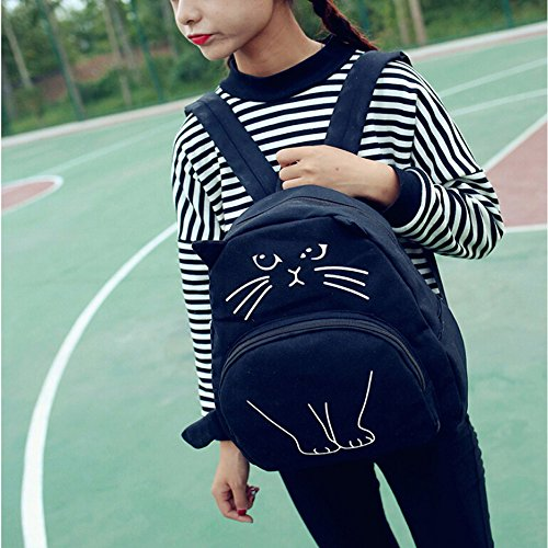 Longra Sacchetto di spalla del gatto del fumetto, zaino di svago, sacchetto dellallievo Nero