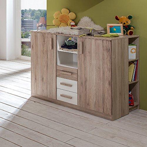 Preisvergleich Produktbild Babyzimmer Babymöbel Eiche San Remo Wickelkommode Wickeltisch Babytisch Kommode
