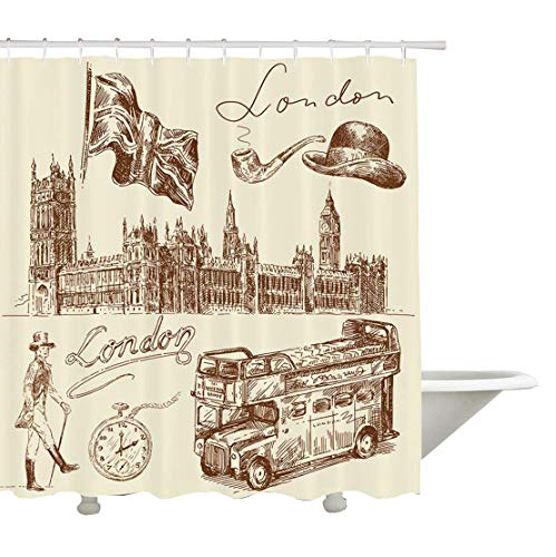 Yeuss London Decor Collection, Skizze der nationalen britischen Embleme Big Ben Houses of Parliament Busflagge Bild, Bad-Duschvorhang aus Polyestergewebe, Sienna White -