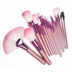 Lychee Belle 22pcs morbido trucco professionale pennelli cosmetici Make Up Brush Set Kit Foundation con Free Faux Custodia in Pelle Bag (rosa)