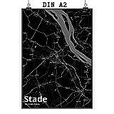 Mr. & Mrs. Panda Poster DIN A2 Stadt Stade Stadt Black -