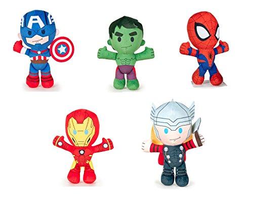 Los Vengadores (The Avengers - Marvel) - Pack 5 peluches Calidad super soft: Hulk 21cm + Ironman 22cm + Capitan America 21cm + Thor 21cm + Spiderman 21cm