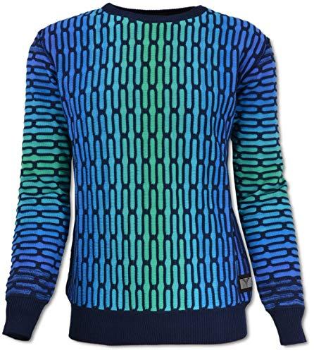 Carlo Colucci All-Over Jacquard Pullover, Blau-Grün Blau S