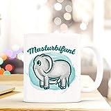 Netcream Lustig Bedruckte Tasse mit Elefantenmotiv und Spruch Masturbifant. Die Perfekte Kaffeetasse für Elefantenliebhaber, Männer, Frauen, Kollegen, Perfekt Zum Frühstück Oder in der Kaffeepause