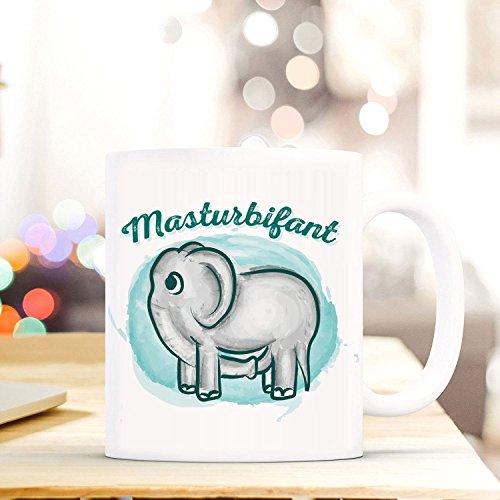 Netcream Lustig Bedruckte Tasse mit Elefantenmotiv und Spruch Masturbifant. Die Perfekte Kaffeetasse...