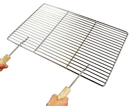 Edelstahl-Grillrost 84 x 40 cm Qualitätsedelstahl V2A, stabile & schwere Ausführung mit zwei separaten Handgriffen Grillkamin