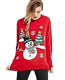 Dooxi Damen Weihnachtsbaum und Schneemann Drucken Langarm Pullover Warme Rundhals Weihnachten Strickpullover Tops Rot