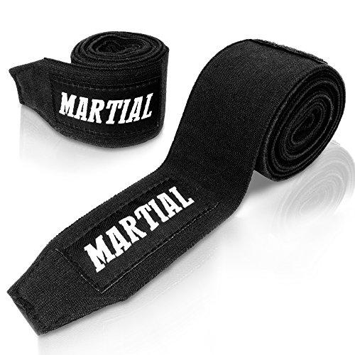 Boxbandagen von MARTIAL (3m) mit bestem Klett und Daumenschlaufe. Bandagen ohne Ausleiern für MMA, Boxen, Kickboxen & Sparring! Handgelenkbandage schwarz, optimale Schweißaufnahme und Beutel! (Boxen-ausrüstung)