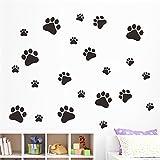Pegatina de pared adhesiva huellas de perro color negro