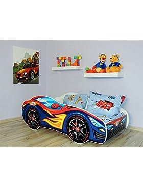 topbeds cama infantil diseño coche de carreras–Colchón incluido Rouge/bleu Talla:140 x 70 cm