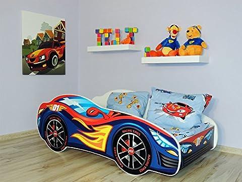 Topbeds Bett für Kinder, Design Rennauto, Matratze