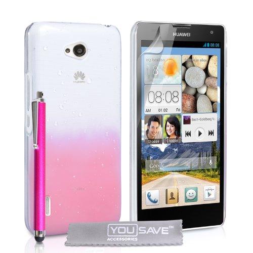 Yousave Accessories® Regentropfen Hard Cover mit Eingabestift für Huawei Ascend G740-Baby Rosa/Transparent Baby Pink Hard Gummi