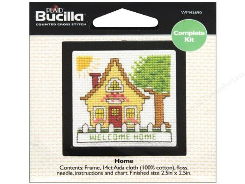 Bucilla Cross Stitch Kit Counted Beginning Kit 2.5 Inch Home by Bucilla -