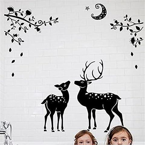 Moonless cerf Silhouettes Décoration de Noël,Fami Decal Stickers fenêtre