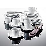 Malacasa, Serie Julia, Tafelservice 30-teilig Kombiservice Porzellan Geschirrset mit je 6 Kaffeetassen, 6 Untertassen, 6 Kuchenteller, 6 Suppenteller und 6 Flachteller Kaffeeservice für 6 Personen