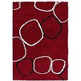 Special Carpets Alfombra Shaggy Pop Rojo / Gris Claro 120 x 170 cm