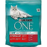 Purina One DC Sterilcat - Cibo secco per gatti sterilizzati, Manzo e Frumento, 800g, 8 Pezzi
