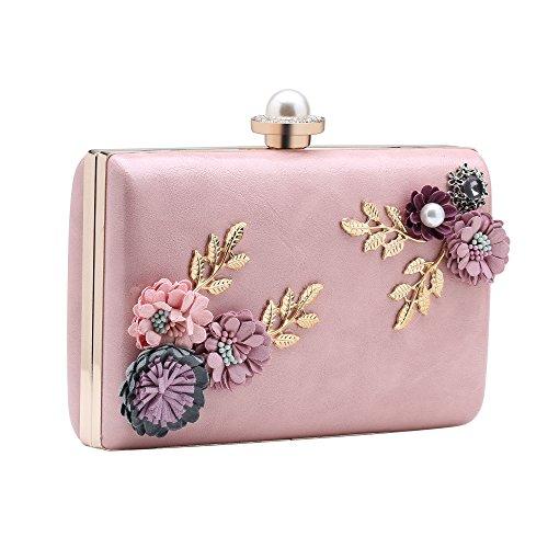 BABEYOND Damen Clutch Elegante Blumen Zweig Muster Handtasche Abend Party Clutch Damen Tanzball Handtasche (Rosa) (Perlen-geldbörse Muster)
